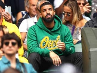 Drake watching Serena at Wimbledon