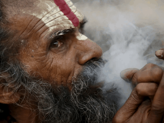 Indian man smoking weed