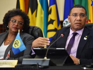 Mia Motley of Barbados and Anrew holness of Jamaica