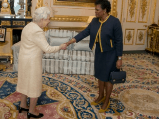 Queen Elizabeth and the governor general of Barbados, Sandra Mason