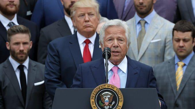 Robert Kraft, Donald Trump and members of the New England Patriots